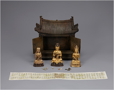 Bronze Shrine and Gilt-Bronze Seated Amitabha Triad